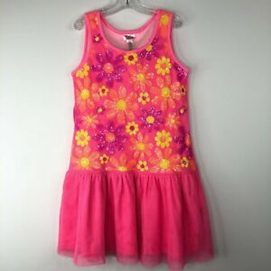 Justice Girls Pink Flower Sequin Dress Size 10 Tie Back