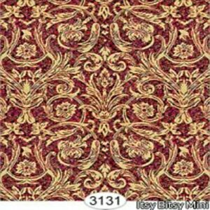 Dollhouse Miniature Wallpaper - Festive Damask Gold on Red  1:12 Scale