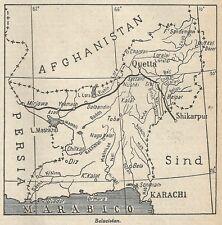 A4834 Belucistan - Carta geografica antica del 1953 - Old map