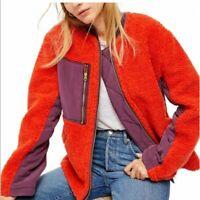 Womens Free People Full Zip Sherpa Jacket Chili Combo Size Large OB1006446