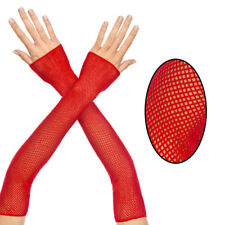 Gothic Punk Sheer Red Fishnet Fingerless Gloves Elbow Length Long Arm Warmers OS