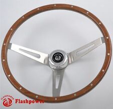 "14"" Laminated Riveted Mahogany Wood Classic Steering Wheel Ford Mustang 3 Bolt"