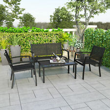 More details for garden furniture set 4 seater sofa chairs rectangular table patio outdoor black