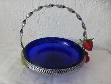 corbeille à fruits panier verre bleu deco vintage