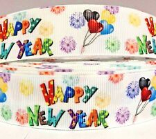 """Grosgrain Ribbon 1"""" HAPPY NEW YEAR PRINTED for HAIRBOWS GIFTS"""