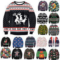 Womens Mens Ugly Christmas Sweater Xmas Jumper Sweatshirt Pullover Top T-shirt M