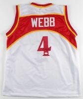 Autographed/Signed SPUD WEBB Atlanta Hawks White Basketball Jersey JSA COA Auto