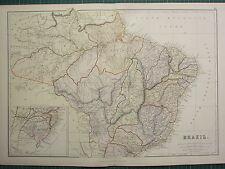 1882 LARGE ANTIQUE MAP ~ BRAZIL ~ GROSSO SAO PAULO BAHIA PARA AMAZON