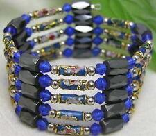 "Blue Cloisonne Hematite Magnetic Beads 29"" Necklace Bracelet for Women nec5157"