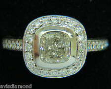 GIA 2.63CT HALO CUSHION CUT DIAMOND RING PLATINUM  I/VS1+