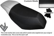 WHITE & BLACK CUSTOM FITS MALAGUTI PHANTOM F12 100 DUAL LEATHER SEAT COVER
