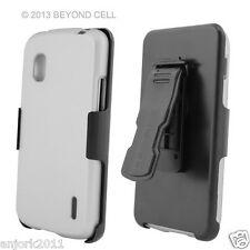 LG Nexus 4 E960 Google Phone Hard Case+Holster Combo w/ Swivel Belt Clip White