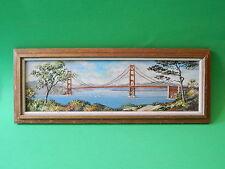 "4"" x 14"" Jean Bowler Framed Acrylic Painting Landscape & Bridge Signed"