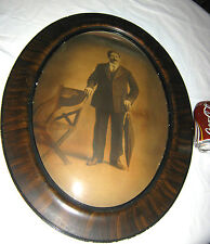 ANTIQUE MAN CHAIR UMBRELLA WOOD CONVEX BUBBLE GLASS PHOTO PICTURE WALL ART FRAME