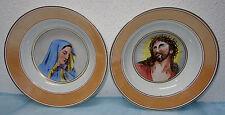 alte Zierteller, Jesus und Maria, von Hand gemalt, Pressmarke