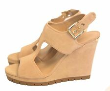 ef26924f4fc3 Womens Michael Michael Kors Gillian Wedge Suede Sandal Open Toe Bone Nude 10