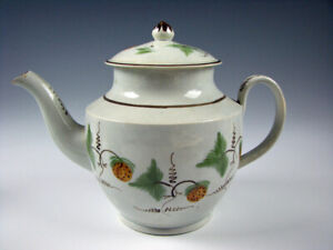 Antique Pearlware Glaze Leeds Teapot with Strawberries circa 1820