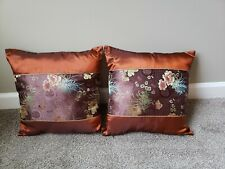 NEW- Two Home Decor Sofa PILLOW CASES filled, Silk Bronze Floral