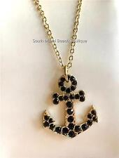 Gold Plated Crystal Anchor Necklace Black Nautical Boat Beach Island USA Seller