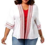 Style & Co White Embroidered Elbow Sleeves Kimono Top Women's Plus Size 2X NEW#1