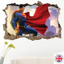 3D SUPERMAN Wall Sticker Decal Mural Art Bedroom Poster Boys Kids DC BATMAN