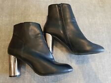 Dorothy Perkins size 6 (39) black faux leather side zip block heel ankle boots
