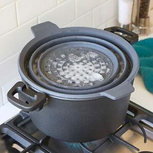 New Pampered Chef SILICONE COLLAPSIBLE STEAMER & STRAINER #2742- Free Shipping