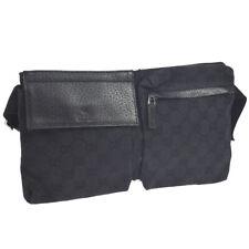 GUCCI GG Bum Bag Waist Pouch Purse Black Canvas Leather Italy Vintage AK38507h