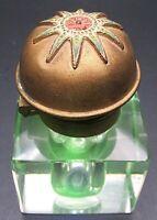 "Beveled Glass Inkwell Domed Enameled Sun Brass Lid ~3.25"" Tall"