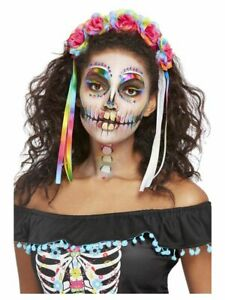 Bright Neon Mexican Ladies Fancy Dress FULL Make Up Kit + Headband Halloween
