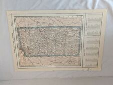 """Antique 1915 Two-Sided Color Map of Kansas, Kentucky & Tennessee 10"""" x 15"""""""