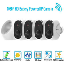 HD 1080P Wireless Wifi IP 4 Security Camera System Outdoor Battery Powered Alexa