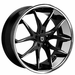 "4ea 20"" Staggered Lexani Wheels R-Twelve Black W SS Lip Rims (S42)"