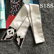 Cute Panda Silk Twilly Scarf Long Slim Ribbon Bowtie Hair Handbag Wrap Animal