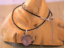 Heart shaped amethyst gemstone pendant on 2mm black leather cord necklace. Gift