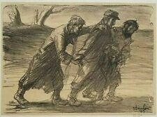 Théophile Alexandre Steinlen ( 1859-1923 ) Les trois compagnons 1915 Lithograph