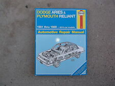 Haynes Dodge Aries and Plymouth Reliant K  Cars 1981 thru 1989 Used