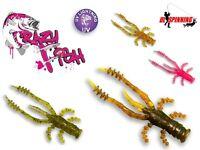 """Crazy Fish Soft Plastic Lure Bait Jig Heads Drop Shot Crayfish 4,5cm 1,8"""" 8 Pcs"""
