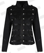 Womens Black Silver Parade Ladies Jacket Steampunk Military MCR Punk Rock Gothic