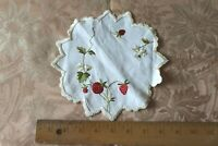 """Antique Hand Embroidered Sweet Strawberry & Floral Silk Society Work On Linen~7"""""""