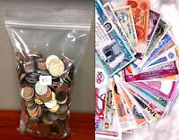 50 Different Countries Coins + 25pcs Bundle Foreign Currency World Banknotes Set