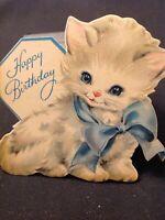 #1003🌟Vintage 1940 Hallmark Children's Greeting Card BLUE EYES KITTEN Birthday