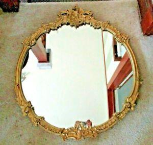 "Vintage Stunning LARGE 32"" Diameter Gesso & Wood Round Mirror gold gilt floral"