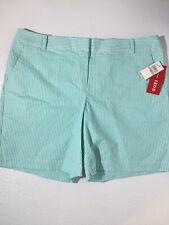 IZOD Womens 12 Straight Flat Front Khaki Chino Golf Shorts Aqua White Stripes