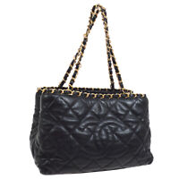 CHANEL Quilted CC Logos Chain Hand Bag 16196048 Purse Black Leather AK39588