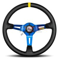 MOMO MOD.08 BLACK LEATHER BLUE SPOKE 350MM STEERING WHEEL 11150085811 MOD 08