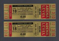 VINTAGE 1966-1967 NBA HAWKS @ LOS ANGELES LAKERS FULL BASKETBALL TICKETS