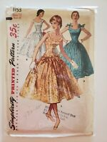 1950's vintage sewing pattern dress Simplicity size 12 bust 30 drop waist formal