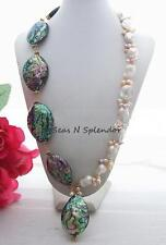 Artisan Handmade Genuine White Nucleated & Fresh Pearls & Abalone Paua Necklace