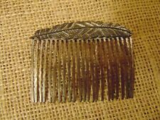 """Vtg Metal Hair Comb with Leaf Silver-tone 3"""""""